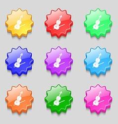 Violin icon sign symbol on nine wavy colourful vector image