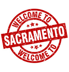 Welcome to sacramento red stamp vector