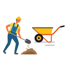 worker digging hole with shovel into cart vector image