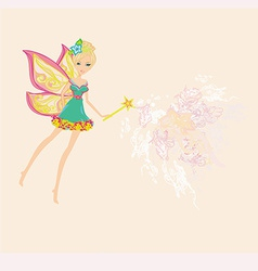 beautiful fairy with magic wand graphic card vector image
