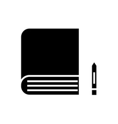 book icon black sign on vector image
