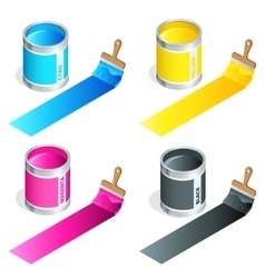 Bottles of ink in cmyk colors and paint brush on vector image