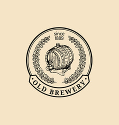 kraft beer barrel logo old brewery icon lager vector image vector image