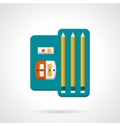 Pencils and sharpenet set flat icon vector image vector image