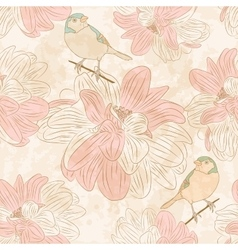 Seamless floral pattern with birds vector image
