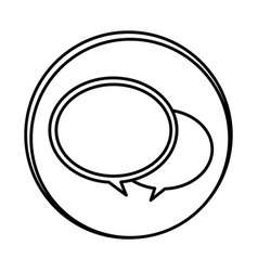 silhouette symbol round chat bubbles icon vector image