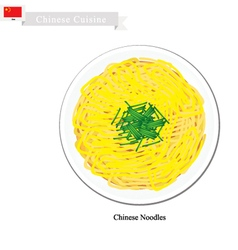 Stir Fried Chinese Noodles with Chopped Scallion vector image
