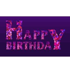 Watercolor mosaic happy birthday greeting card vector