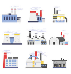 industrial factory buildings set power and vector image