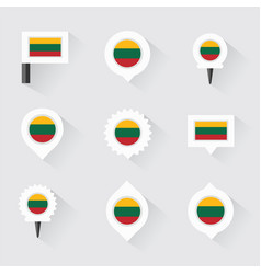 lithuania flag and pins for infographic and map vector image vector image