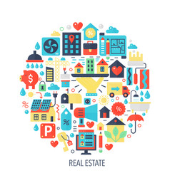 real estate flat infographics icons in circle - vector image vector image
