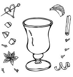 Sketch glass with irish coffee hand drawn vector