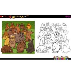 bear characters coloring book vector image vector image