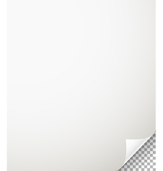 Blank paper sheet with bending corner on vector image