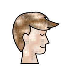 drawing profile head man male hairstyle vector image
