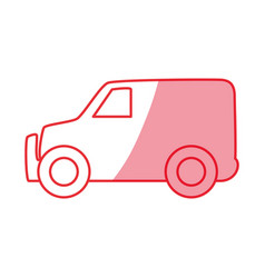 silhouette truck to transportation delivery and vector image