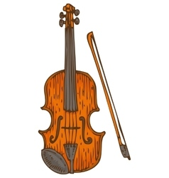 Wooden Fiddle or Violin with Fiddlestick vector image vector image