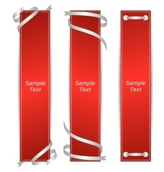 A set of three vertical banners red ribbons vector image