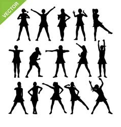 Aerobic dance silhouettes vector image