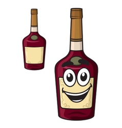 Cartoon smiling alcohol bottle vector image