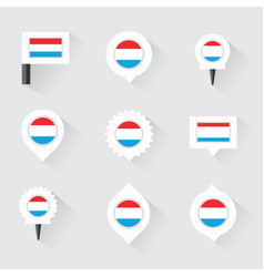 Luxembourg flag and pins for infographic and map vector