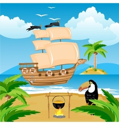 Nave with sail beside coast in tropic vector image vector image