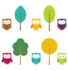 owls and trees vector image vector image