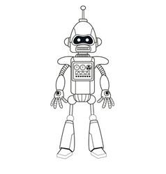 Robot machine engineering thin line vector