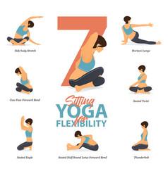 7 sitting yoga poses for flexibility vector