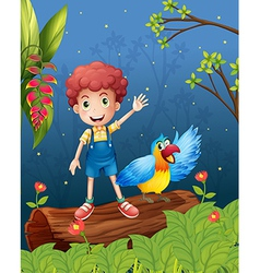 A boy with bird at the forest vector