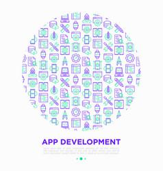 app development concept in circle vector image