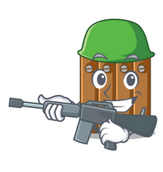 Army brown wooden fence isolated on character vector