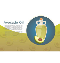 Avocado oil bottle and fruit for healthy cooking vector