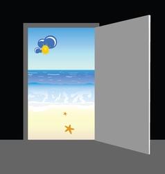 Beach behind the door vector