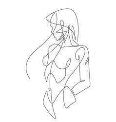 beautiful woman one continuous line female art vector image