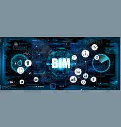 bim banner - building information modeling vector image