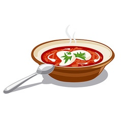 Borscht with sour cream vector