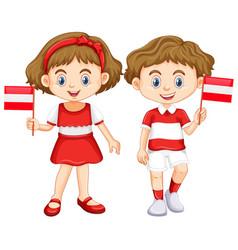 Boy and girl with austria flag vector