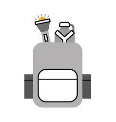 Camping bag with canteen and lantern vector