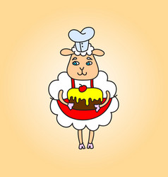 Chef sheep with a cake in her hands drawing vector