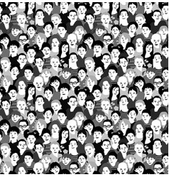 Children crowd group monochrome seamless pattern vector