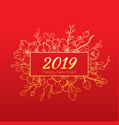 Chinese new year greeting card -2019 text elegant vector