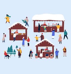 Christmas fair street market flat vector