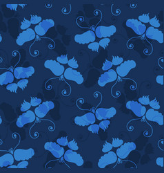 Classic blue butterfly wax resist dye vector