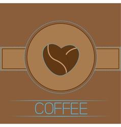 Coffee beans heart Card Blue text vector