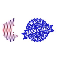 Composition of gradiented dotted map of karnataka vector
