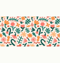 Contemporary flower pattern abstract shapes and vector
