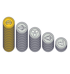 cryptocurrencies coin capitalization vector image