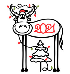 cute cartoon bull and christmas tree with winter vector image
