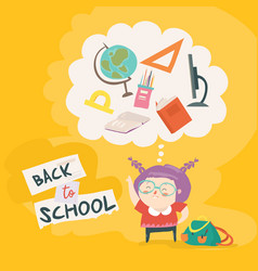 cute girl is getting ready for school vector image